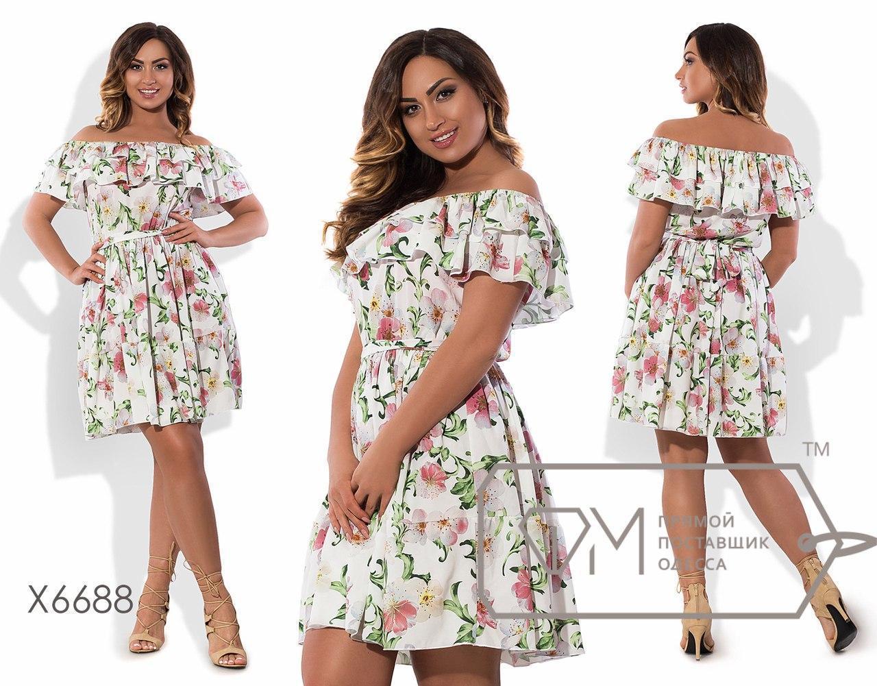 Платье с открытыми плечами в батальних размерах p-tauk51392