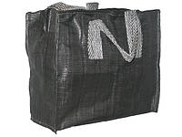Чёрная однотонная хозяйственная сумка 500/500мм на молнии для покупок