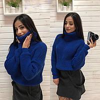 """Вязаный женский свитер """"Арчи"""", электрик, фото 1"""