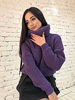 """Вязаный женский свитер """"Арчи"""", фиолетовый, фото 1"""