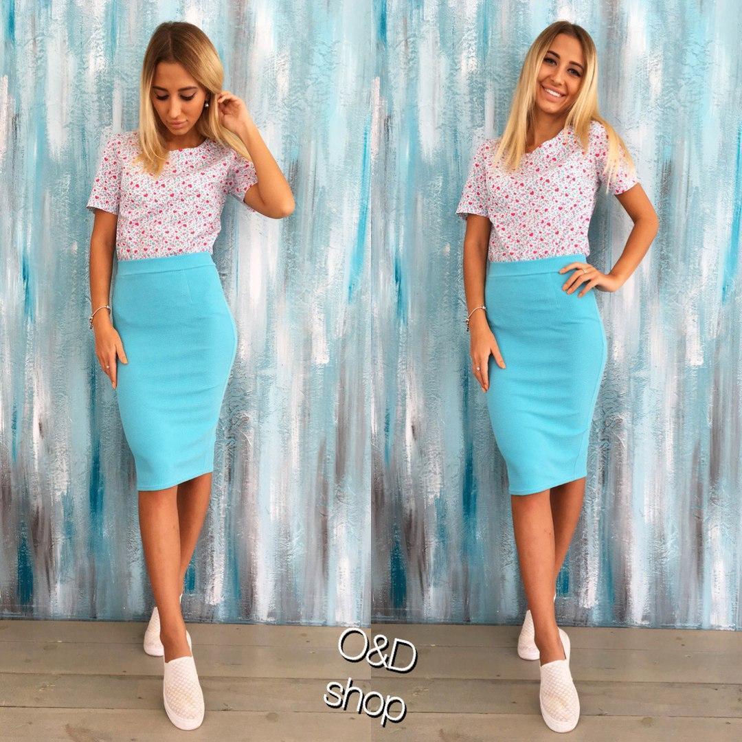 Женская летняя юбка миди в расцветках s-t27124