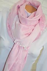 Женский платок Louis Vuitton Monogram (в стиле Луи Витон) розовый