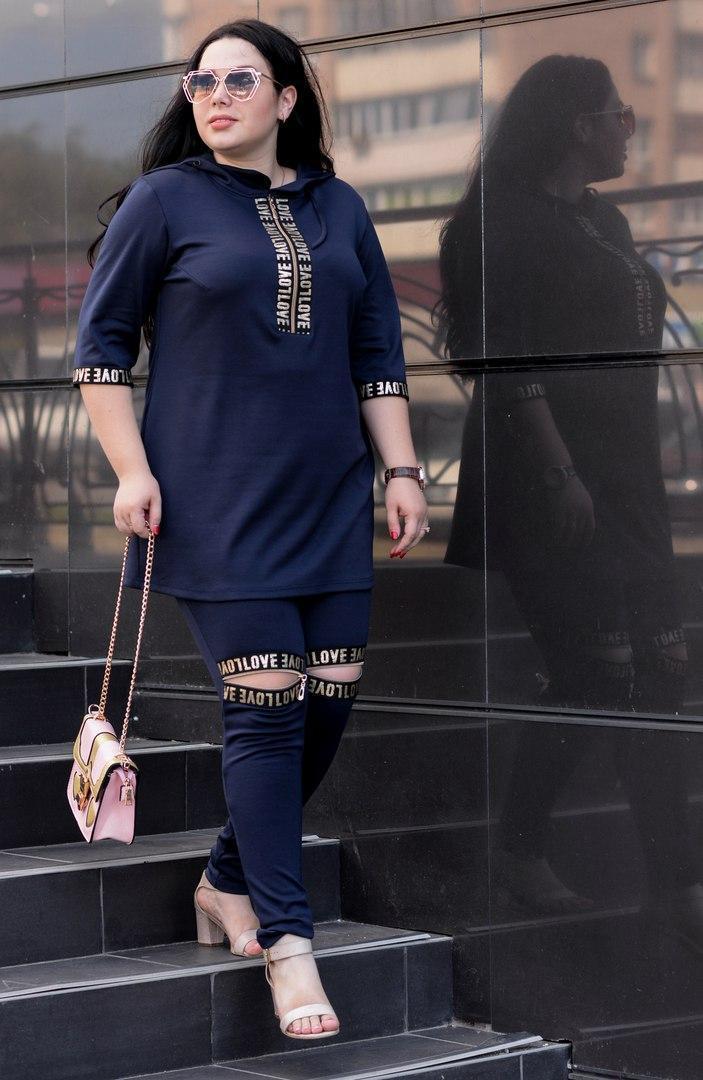 Женский костюм (туника и лосины) большого размера q-t10uk68