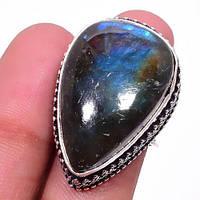 Кольцо с натуральным камнем лабрадор 17 размер в серебре. Кольцо с лабрадором Индия, фото 1