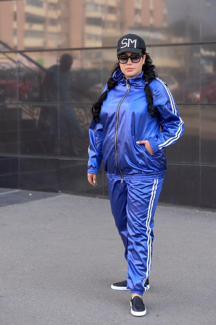 Женский батальный спортивный костюм из плащевки i-10uk137