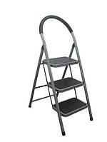Металлическая лестница Стремянка 105см на три ступеньки с прорезиненными ковриками и ручкой