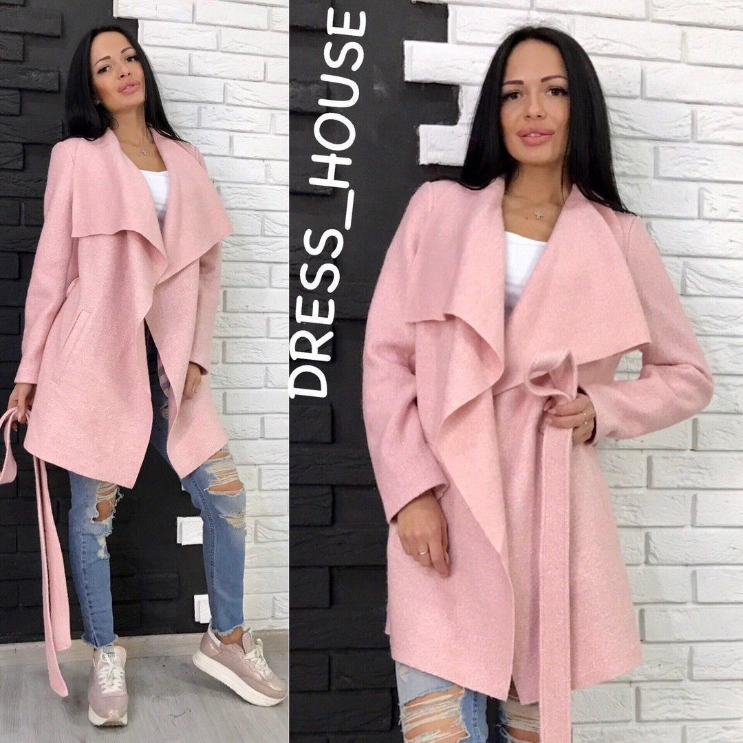 Женское пальто-кардиган из буклированной шерсти в расцветках 5lt16