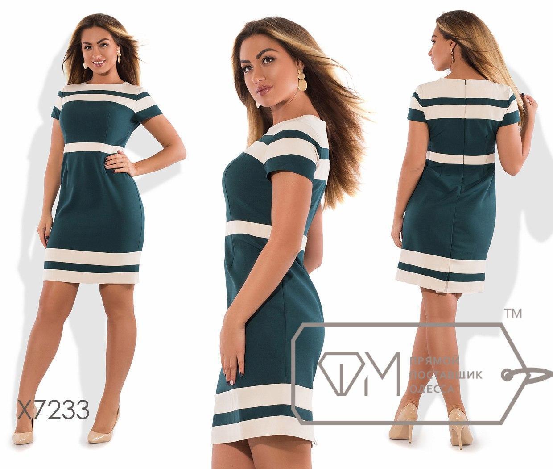 Приталенное платье больших размеров с коротким рукавом и полосами fmx7233