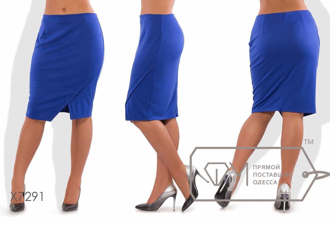 Женская юбка батал с ассиметричным низом fmx7291