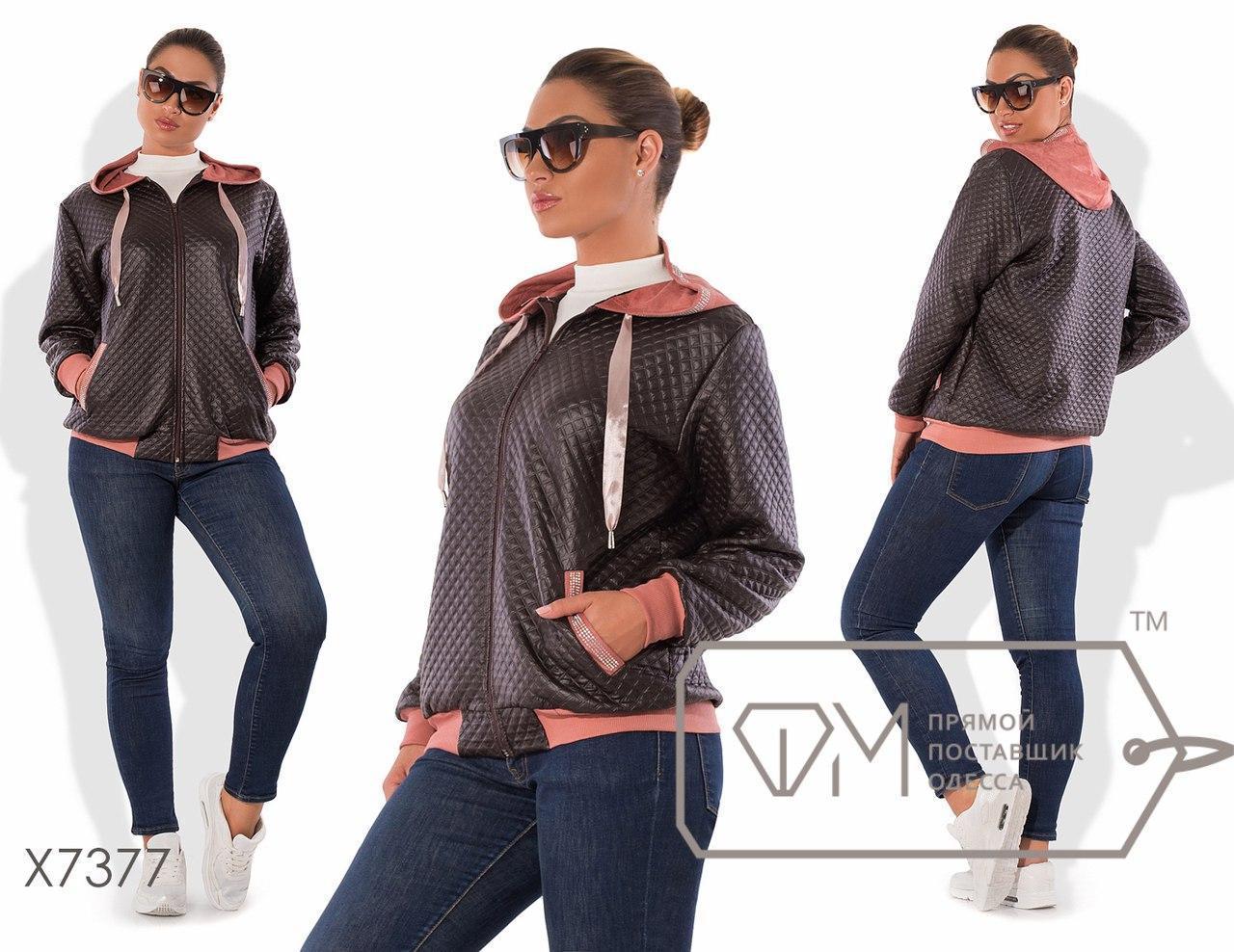 Женская куртка большого размера из стеганной экокожи без подклада fmx7377