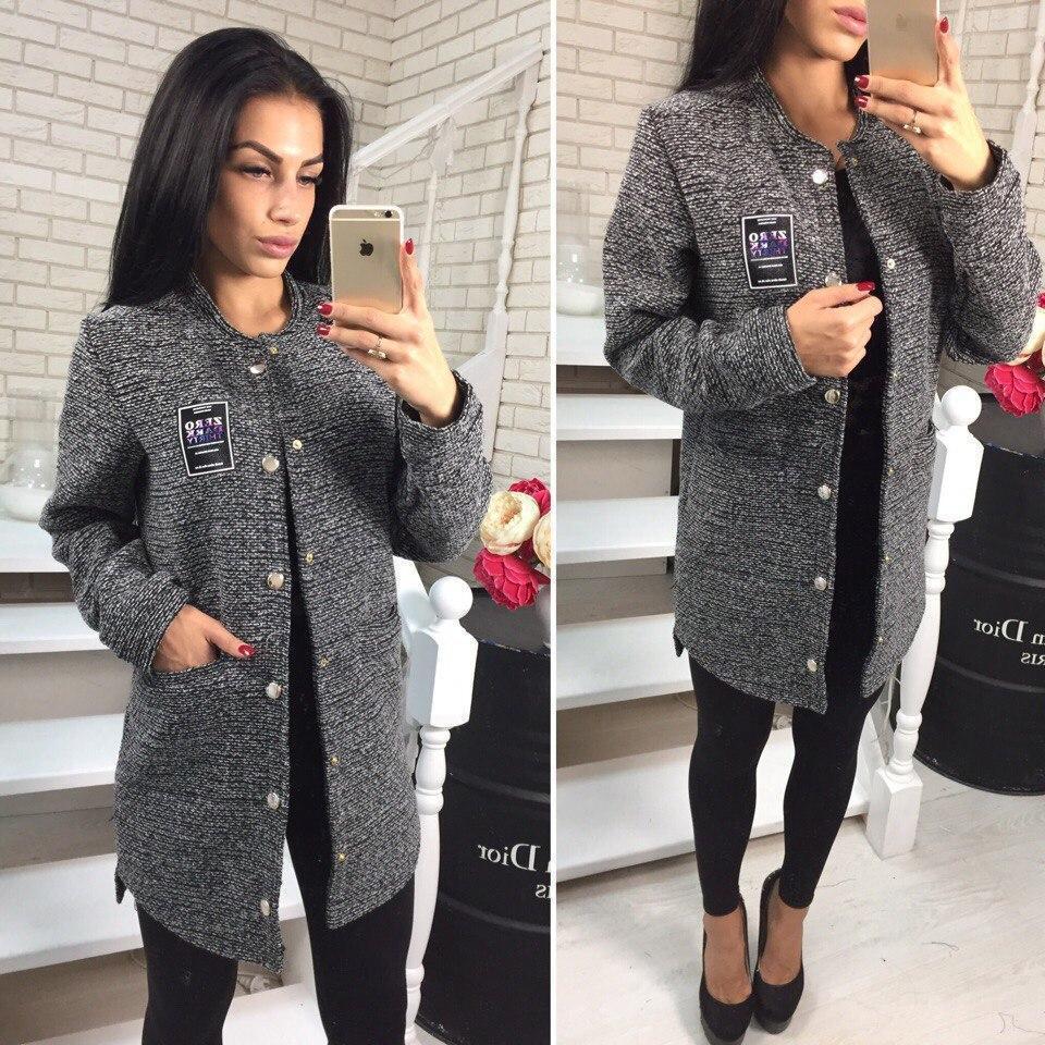 Женское буклированное пальто на кнопках 41lt19