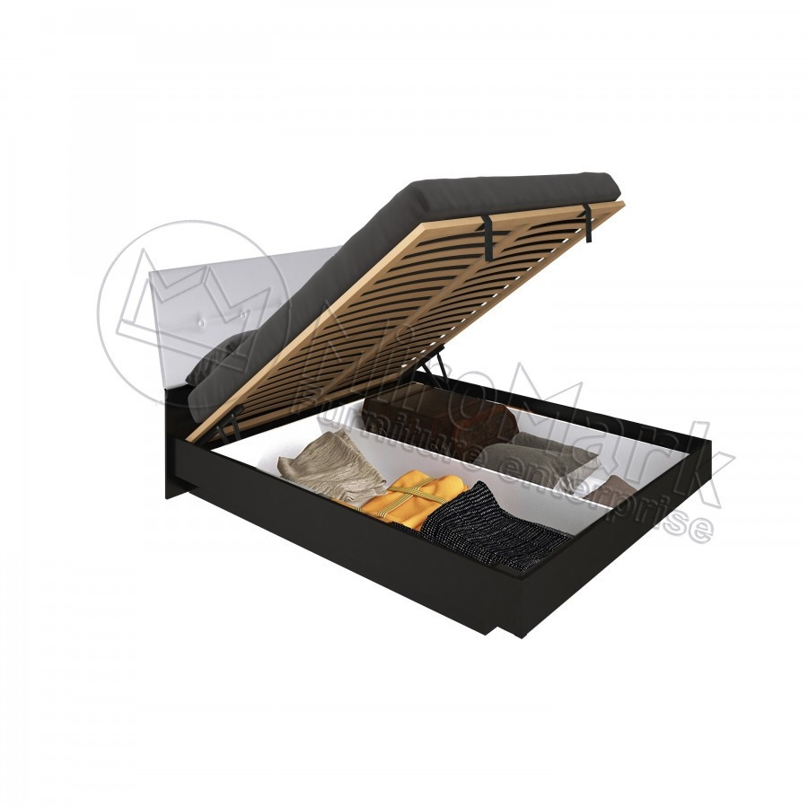 Кровать 180х200 Терра с мягкой спинкой, подъемником и каркасом Миро-Марк