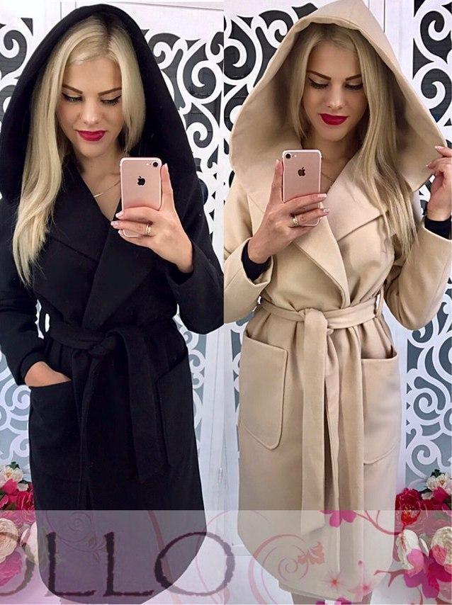 Кашемировое женское пальто длиной миди с капюшоном 17lt26