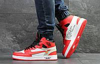 """Зимние мужские кроссовки Nike Air Jordan 1 """"Off-White"""" * красные с белым"""