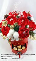 """Зимний букет из конфет в  красной коробке """"Рубиновое сияние""""№11+9, фото 1"""