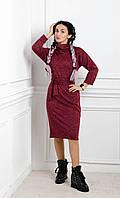 Повседневное женское платье бордо меланж, фото 1