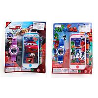 Часы и телефон детские 818-7A-1C, 14см, муз, звук, свет, 2 вида (ТЧ,PJM), микс цвов, на бат-ке