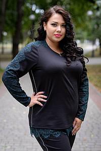 Женская кофта большого размера с кружевом внизу и на рукавах 10uk194