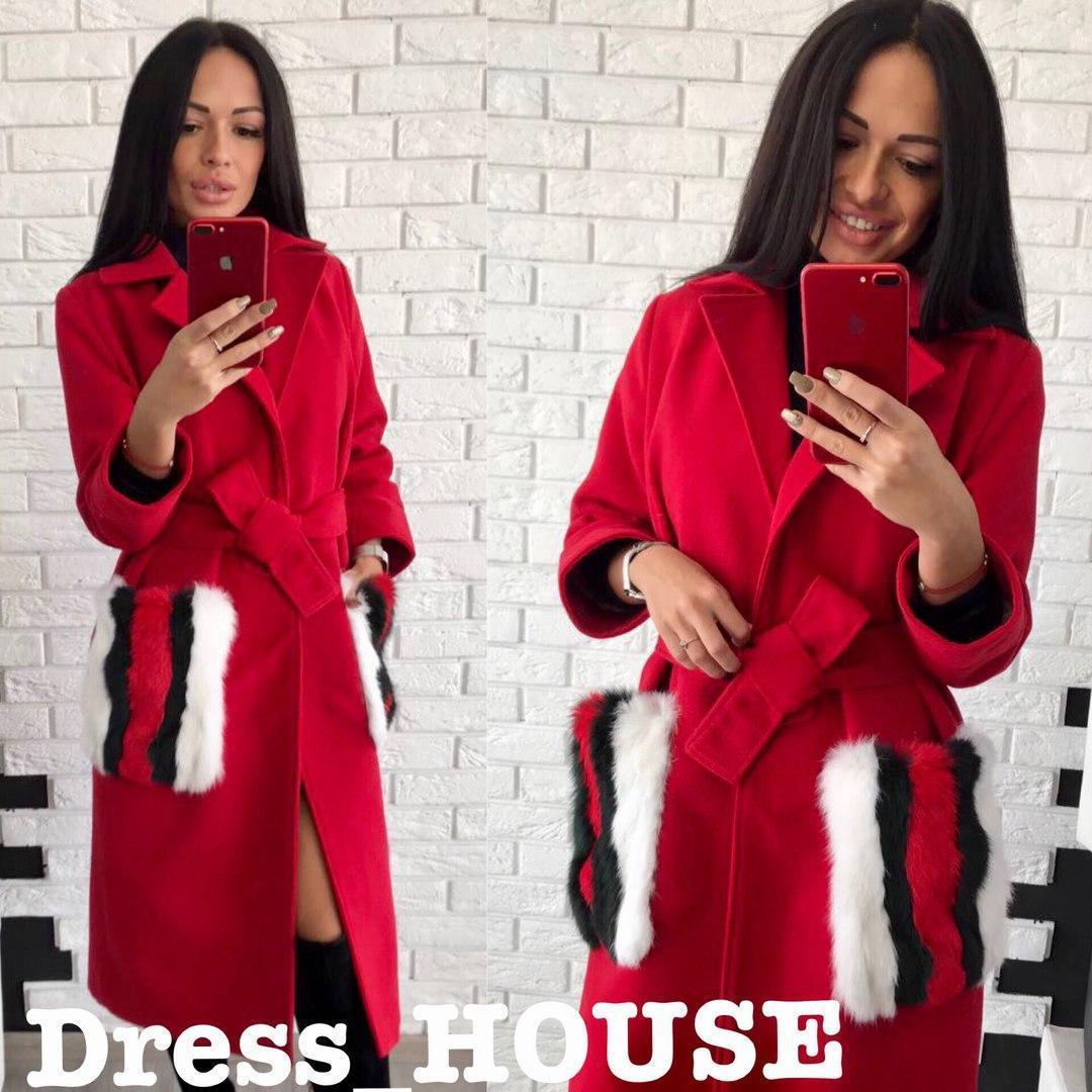 26523681517 Кашемировое женское пальто с мехом кролика на карманах 5lt29 - Cardy  интернет магазин одежды в Харькове