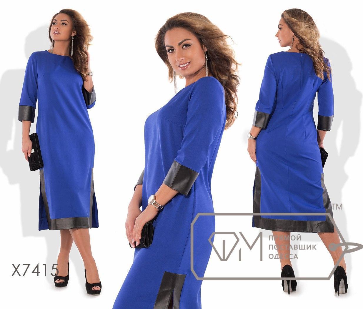 Платье батал ниже колена с вставкой из экокожи fmx74uk