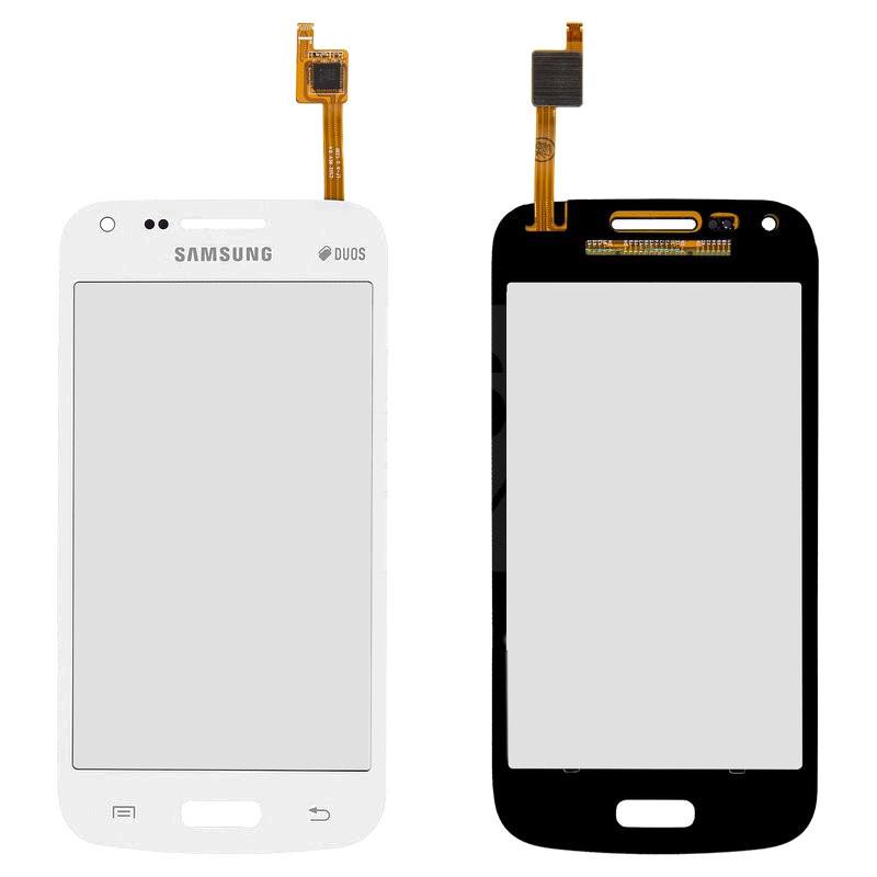 Сенсорный экран (тачскрин) Samsung G350 Galaxy Core Plus Duos (с отверстием камеры) белый оригинал