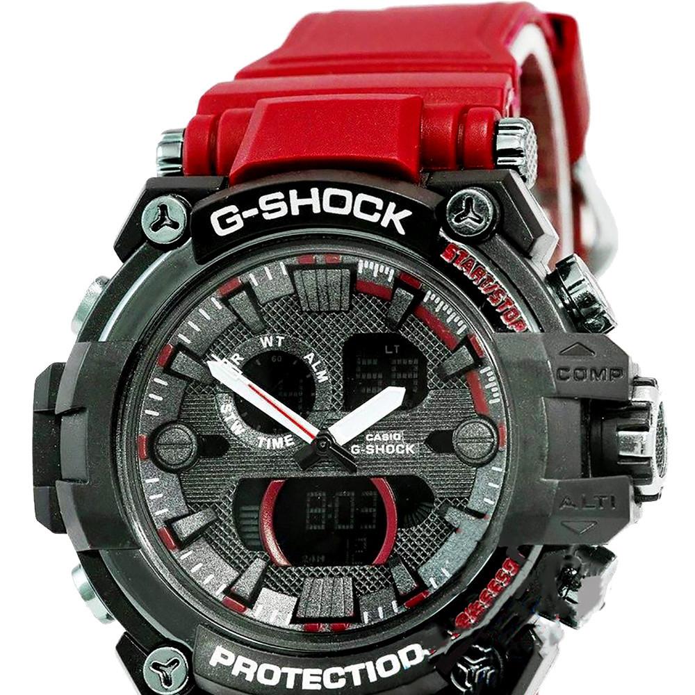 Спортивные часы Casio G-Shock-2 железный корпус - черный с красным  + ПОДАРОК: Держатель для телефонa L-301