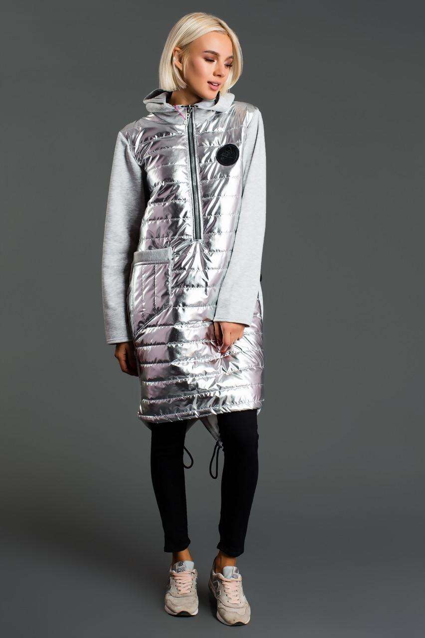 Теплая на синтепоне длинная женская кофта худи с капюшоном и карманами, спереди металлик, сзади трикотаж