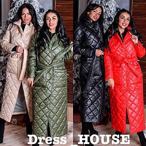 Женское стеганное зимнее пальто под пояс в расцветках 5lt46