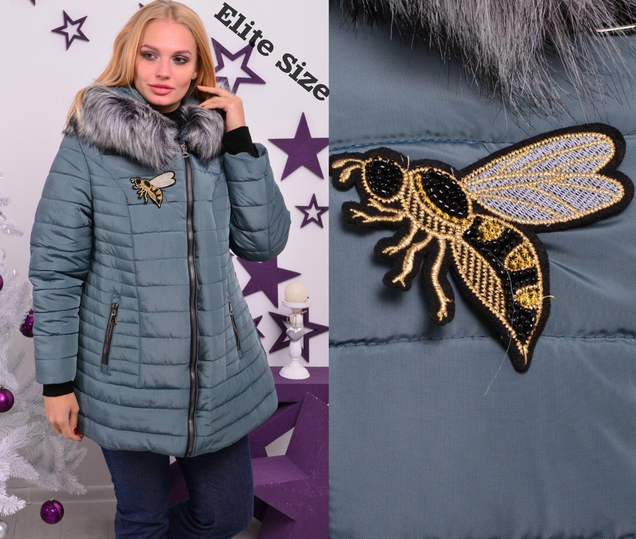 Женская зимняя куртка большого размера с капюшоном и косой молнией 6uk312