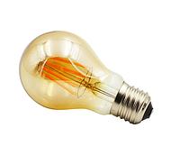 Светодиодная прозрачная лампочка 8Вт Е27 А60 2350K  Biom FL-411 с янтарным напылением, фото 1