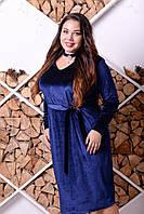 Бархатное платье большого размера с вырезом (чокер) 10uk331