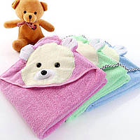 Уголок полотенце с капюшоном для купания детский 85х85 мишка