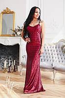Длинное платье в пайетках с вырезом на спине и бантом 60032108