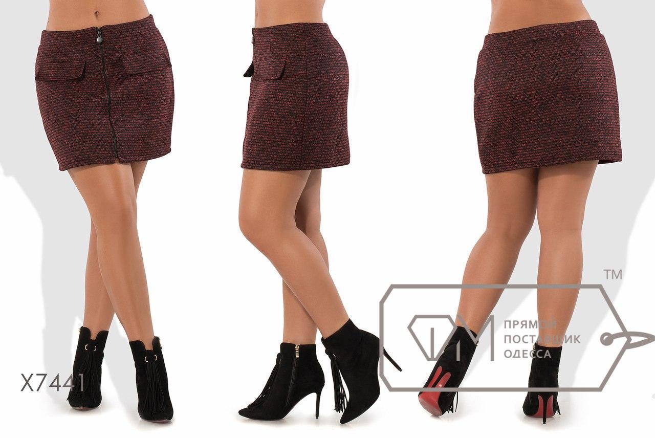 Женская юбка в больших размерах из букле на молнии fmx7441