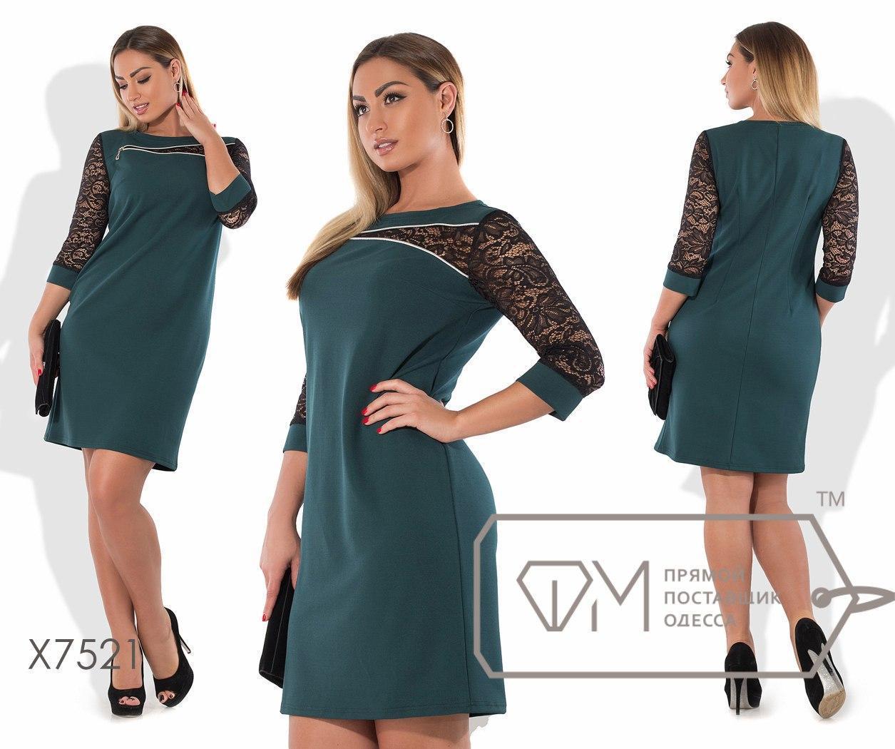 Прямое платье в больших размерах с гипюровыми рукавами fmx7521