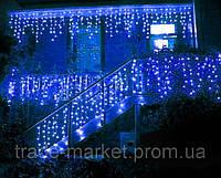 Уличная Светодиодная гирлянда Бахрома ,Голубая, мерцающая, 3х0.8м, 105 LED Черный провод