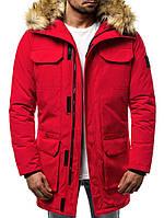 Парка мужская ZIMBER красная зимняя. Куртка удлиненная теплая. Только XL и XXL