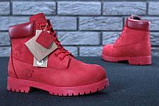Зимние ботинки Timberland Red, женские ботинки с натуральным мехом. ТОП Реплика ААА класса., фото 3
