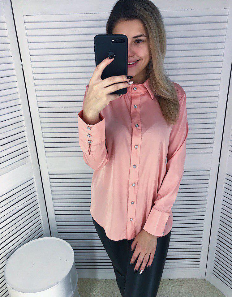 Женская рубашка из шелка в расцветках 65rz56
