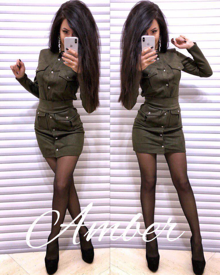 Замшевое платье с карманами и длинным рукавом 8ty896
