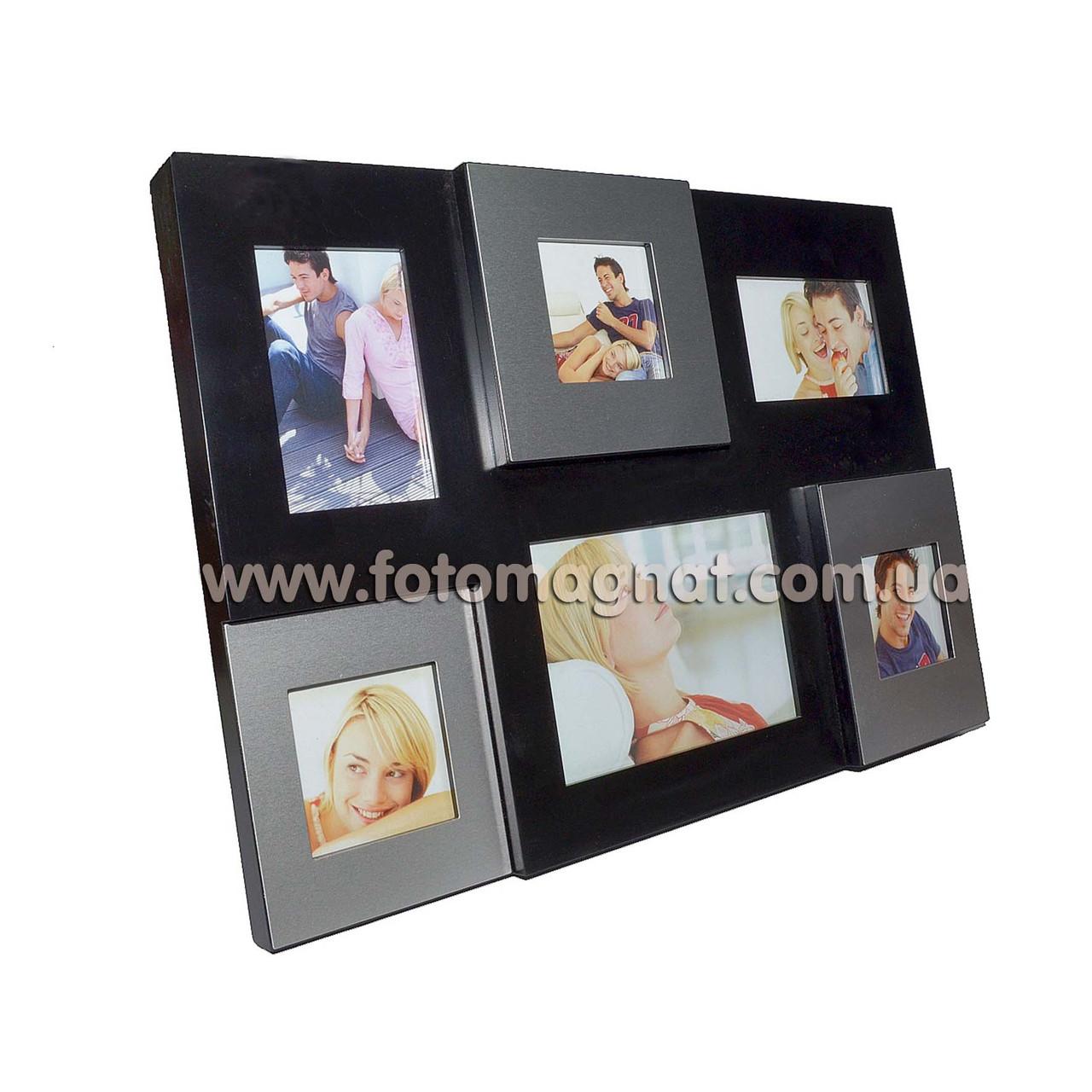 Фоторамка - коллаж  на 6 фото —  Металлическая