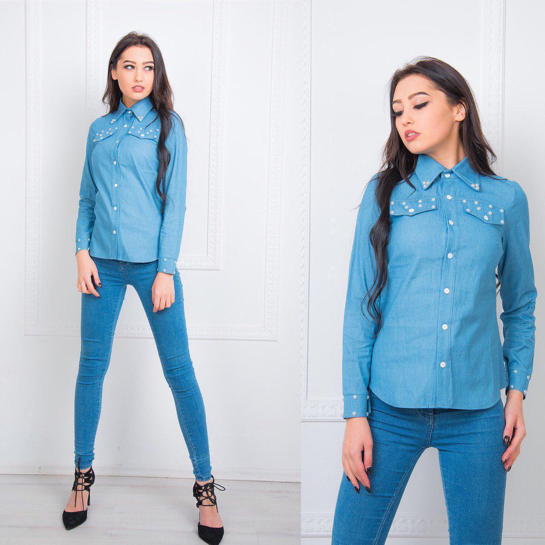 Джинсовая женская рубашка с имитацией карманов на груди 66rz61
