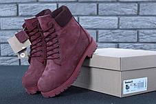 Зимние ботинки Timberland Wine, женские ботинки с натуральным мехом. ТОП Реплика ААА класса., фото 3