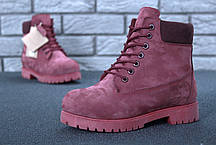 Зимние ботинки Timberland Wine, женские ботинки с натуральным мехом. ТОП Реплика ААА класса., фото 2