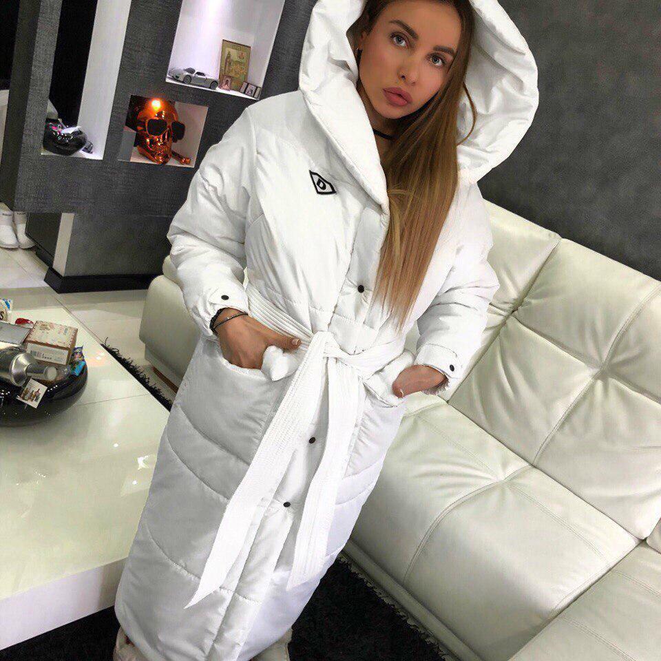 Длинное женское плащевое пальто на зиму теплое 18lt51