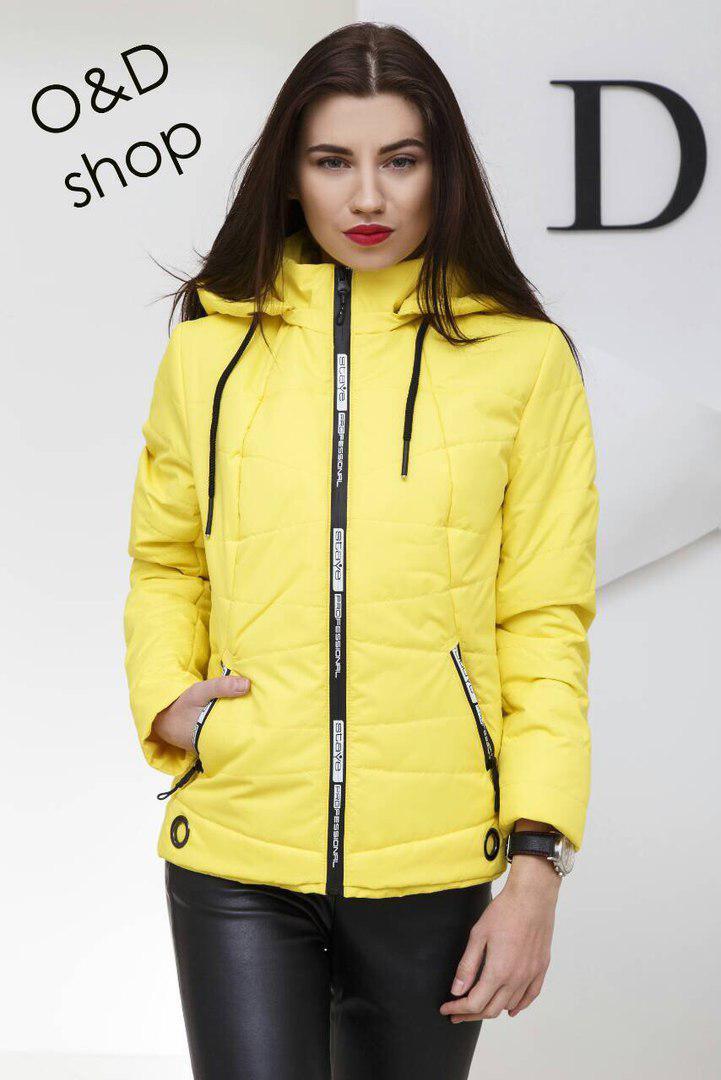 Женская демисезонная короткая куртка с капюшоном 27ki77