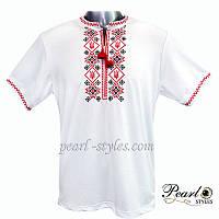 Вышитая футболка. Вышиванка мужская крестиком с кисточками, вискоза 48 Белый