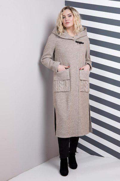 Женское удлиненное пальто большого размера с карманами 6uk569