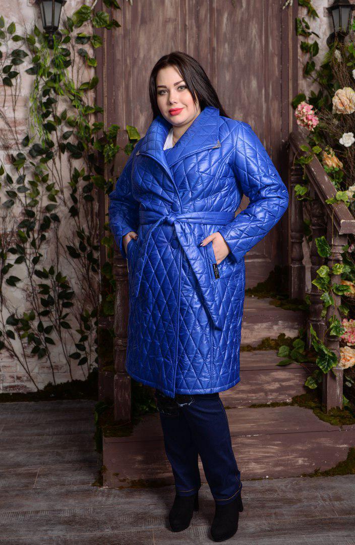 Женское плащевое пальто большого размера со стежкой 10uk591