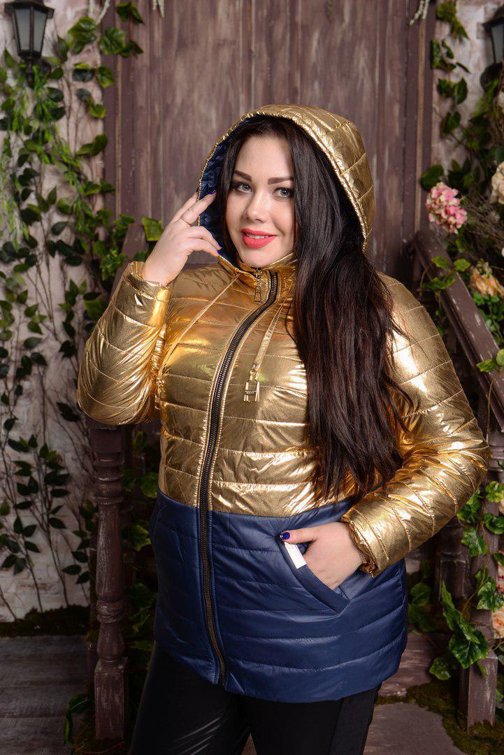 Женская демисезонная куртка батал из металлизированной плащевки 10uk593